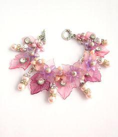Lavender and Pink Lucite Leaf Charm Bracelet