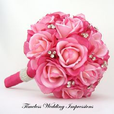 Hot Pink Bridal Bouquet Roses Bling Crystals Rhinestones Wedding Real Touch via Etsy