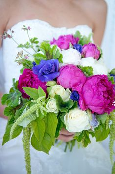Blue and a little purple - need yellow!   Bright Bouquets Wedding Flowers Photos on WeddingWire