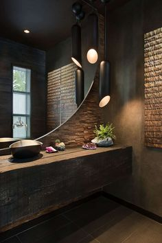 modern bathroom design with light_modern bathroom design in industrial style with a round mirror and black pendant lamps Stone Bathroom, Bathroom Spa, Bathroom Interior, Interior Design Living Room, Small Bathroom, Bathroom Lighting, Bathroom Modern, Bathroom Fixtures, Bathroom Ideas