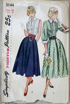 1950's Original Vintage Sewing Pattern Skirt and by SewDecadesAgo