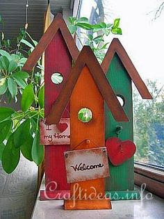 summer crafts for adults | These tall and lanky birdhouses are perfect for not so deep shelves in ...