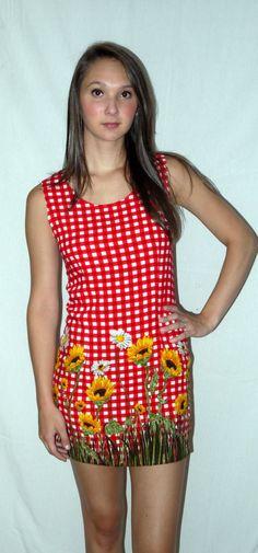 Vintage 80s 90s sunflower mini tank dress / by iofbeholdervintage