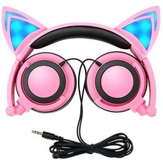 Cat Ear Headphones,SNOW WI Flashing Glowing Cosplay Fancy Cat Headphones Foldable Over-Ear Gaming Headsets Earphone with LED Flash light for iPhone 7/6S/iPad,Android Mobile Phone,Macbook (pink) -- Click image to review more details.