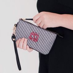 Monogram Wristlet in Houndstooth Leather Like by HoopandStitch