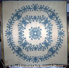 From the Mauna Kea Beach Hotel Collection Hawaiian Quilts, Hawaiian Leis, Aplique Quilts, Blue Quilts, White Quilts, Hawaiian Homes, String Quilts, Quilted Pillow, Pattern And Decoration
