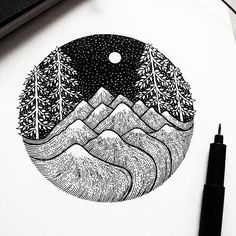 Snowy mountains and leafy trees!  Did this little thing a couple of days ago just for exercise! I am trying to get my lines as perfect  as possible I…