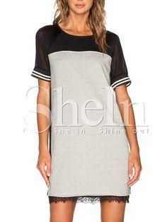 Grey Short Sleeve Contrast Sheer Dress