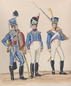 Kingdom of Naples. Garde De Securite de Naples 1813-1815. L to R; Officer Hussars. Officer Grenadiers and a Fusilier