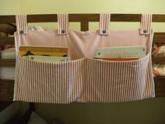 Sew a book holder for the end of kids' beds! GENIUS!