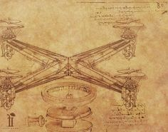 Da Vinci drew up the helicopter long before it was invented.  This is what it'd look like if he came up with the quadrocopter.