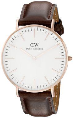 Daniel Wellington Bristol Rose Men's Quartz Watch with White Dial Analogue Display and Brown Leather Strap 0109DW: Daniel Wellington: Amazon.co.uk: Watches