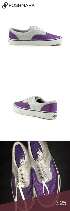 Purple & silver glitter vans! UNISEX 8M & 9.5W!✨ Are you super cute purple and silver van shoes are the perfect accessory to any outfitter collection they are a size 8 in men's but it listed in the tag that does convert to 9 1/2 women's they are very comfy and they do fit great on a wide foot they have been barely used they been sitting in my closet for quite some time they may have concurrent from dust that can be easily cleaned before mailing to you submitted offer if interested thank you✨…