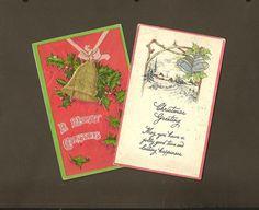 Christmas Bells PAAR van Licht Reliëf Vintage Christmas Postkaarten met Vrolijke Groeten 1908..LB xxx