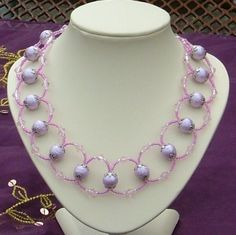 Looped necklace with lilac frosted beads and pink Chinese crystals