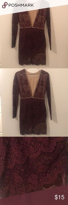 Lacey Maroon Body Con Dress Beautiful plunging neckline and feminine lace detail. Very flattering on! Only worn once. Charlotte Russe Dresses Long Sleeve