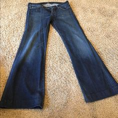 """Seven For All ManKind Seven for all mankind dojo jeans flat waist measures at 15"""" rise at 8"""" these have been hemmed to an inseam of 30"""" 7 for all Mankind Jeans Flare & Wide Leg"""