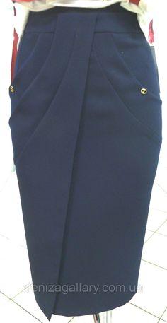 Юбка синяя,юбка черная, с запахом, стильная, модная юбка