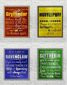 Harry Potter Typography Quote - The Four Hogwarts Houses according to the Sorting Hat