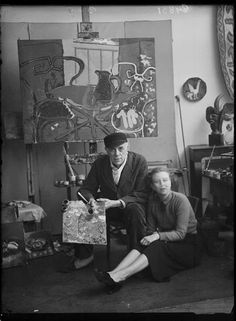 Georges Braque in his atelier, Paris bef. 1940 -by François (Antoine) Vizzavona