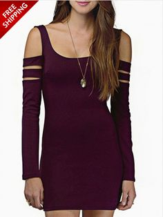 Purple Cut Out Sleeve Body Con Dress