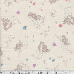 Little Mermaid Fabric in cream