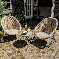 Outdoor Chairs, Outdoor Furniture Sets, Outdoor Decor, Rattan Garden Chairs, Furniture Chairs, Conservatory Garden, Kiln Dried Wood, Outside Living, Bistro Set
