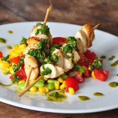 Chicken Kebab and Three Veg Salsa.  A simple summertime supper, easy to make, delicious to eat. #foodgawker