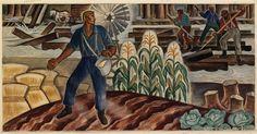 Elsa Laubach Jemne (1888-1974) - Development of the Land (Mural Study, Ladysmith, Wisconsin Post Office), 1934-43