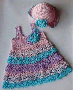 Baby Crochet Patterns Part 33 - Beautiful Crochet Patterns and Knitting Patterns Crochet Toddler Dress, Crochet Dress Girl, Baby Girl Crochet, Crochet Doll Clothes, Crochet For Kids, Vestidos Bebe Crochet, Beautiful Crochet, Crochet Yarn, Crochet Top