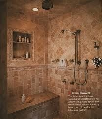 Walk-in, no door shower with shower head on the ceiling. Like the seat and the built-in shelving for shampoo, soap, etc.