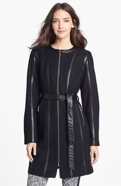 Vince Camuto Leather Trim Belted Wool Blend Coat available at #Nordstrom