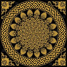 Traditional vintage golden round greek ornament - Vector Stock Image of Backgrounds, Textures, Abstract © volhakavalenkava – RFclipart Mandala Art, Mandala Drawing, Greek Pattern, Pattern Art, Greek Mythology Art, Magic Design, Ancient Greek Art, New Media Art, Floor Art