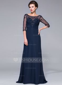 A-Line/Princess Scoop Neck Sweep Train Chiffon Tulle Mother of the Bride Dress With Beading Sequins (008025695) Like a lot