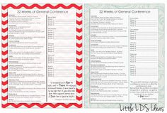 {General Conference} 22 Weeks of General Conference; a great printable to help you study the Conference talks over the next 6 months.
