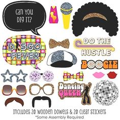 70s Disco - Photo Booth Props Kit - 20 Count from $25.96