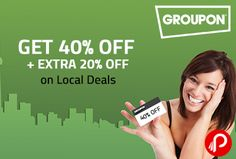 @groupon is #offering 40%+20% Off on all deals. #Discount is valid only till 25th October. 40% OFF Coupon : CELEBRATE Extra 20% OFF Coupon : nearbuy20  http://www.paisebachaoindia.com/get-40-off-extra-20-off-on-local-deals-groupon/