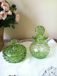 Green hobnail from the By L. Ooh I have the a pair of the bottles in pink! Dresser Sets, Trinket Boxes, Small Vase, Glass, Hobnail Glass, Dressing Table Set, Green Milk Glass, Glass Canisters, Green Glass