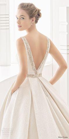 Rosa Clara 2017 (namibia) sleeveless bateau neck v back ball gown wedding dress pockets zbv  #wedding #bridal