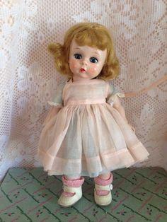 Madame Alexander Kins Straight Lef Non Walker Pink/Blue Organdy Dress. Vintage.