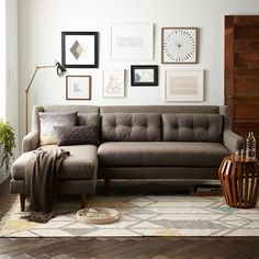 crosby midcentury 2piece chaise sectional