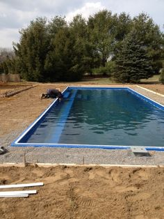 Some final touches on the pool before we grade the yard.