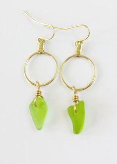 Lime green seaglass earrings on gold loops