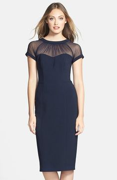 Maggy London illusion yoke crepe sheath dress, available at Nordstrom.