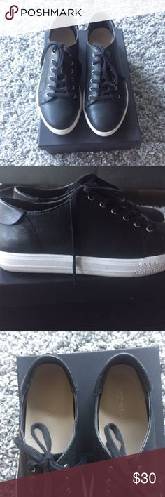6.5 Nine West Leather Converse-like Sneakers Great condition. Only worn twice. Very comfortable. All leather upper sole.   No markings on leather. The white sole has a couple very minor markings, barely noticeable. See pictures. Nine West Shoes Sneakers