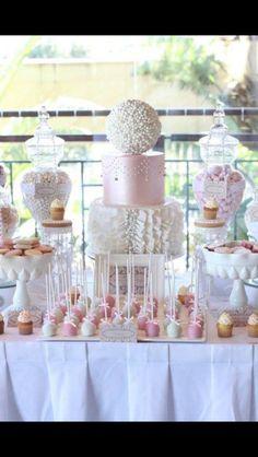 Dessert table Wedding Sweet Tables, Wedding Candy Buffet, Elegant Candy Buffet, Elegant Dessert Table, Wedding Sweets, Buffet Dessert, Dessert Bars, Pink Dessert Tables, Party Buffet