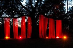 Sheer curtains hung from trees -- purple during the day, then lit up in red at night.