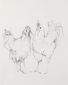 """Chickens (Two)"" Artist: Susan Siegel 11.5"" x 14.5"" Sumi Ink on Paper 2012"