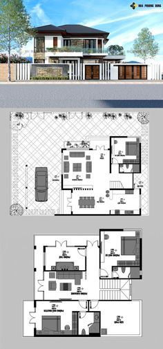 Luxurious two-storey modern villa - Pinoy House Plans Modern Home Design, Home Design Plans, Modern Homes, Model House Plan, Dream House Plans, Small House Plans, 2 Storey House Design, Bungalow House Design, Latest House Designs