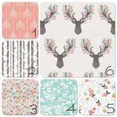 Nursery Bedding Set Going Stag Floral Deer by 3LollipopGirls